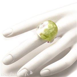 Bague fantaisie en verre de Murrano de créateur vert Taille 50
