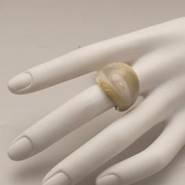 Bague fantaisie en verre de Murrano de créateur blanc Taille 52