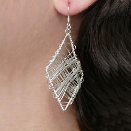 Boucles d'oreilles losange en argent 925 fantaisie bijou de créateur