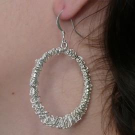 Boucles d'oreilles fantaisie de créateur argent type créoles