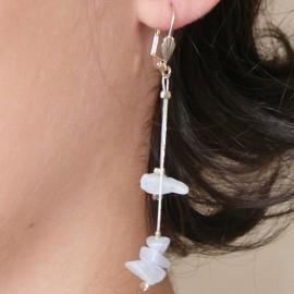 Boucles d'oreilles fantaisie blanc bijou de créateur