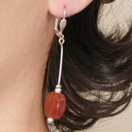 Boucles d'oreilles fantaisie orange bijou de créateur