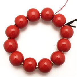 Bracelet fantaisie Kazuri boules céramique rouge