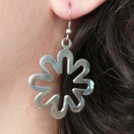 Boucles d'oreilles fleur en argent 925 oreilles percées