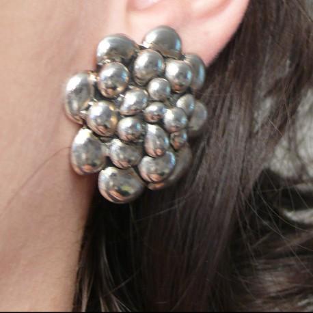 Boucles d'oreilles Ubu fleurs argent clips fantaisie