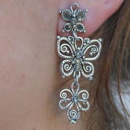 Boucles d'oreilles papillon fantaisie argent bijou de créateur