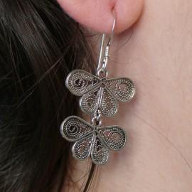 Boucles d'oreilles papillons en argent 925 oreilles percées