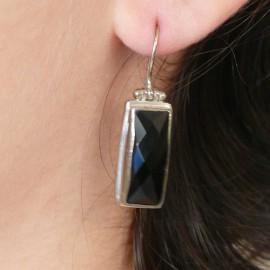 Boucles d'oreilles noires et argent 925 bijou de créateur