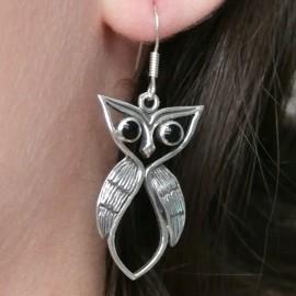 Boucles d'oreilles hibou en argent 925 oreilles percées
