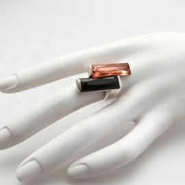 Bague fantaisie créateur Camille noir rose argent Taille 54