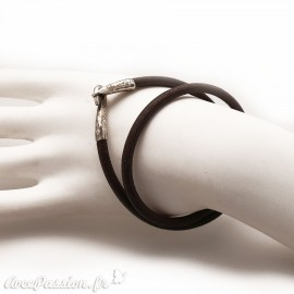Bracelet double tour cuir marron
