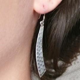 Boucles d'oreilles pendantes martelées en argent 925 oreilles percées