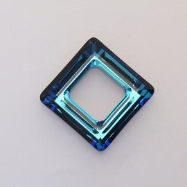 pendentif Swarovski carré 2cm bleu pétrole