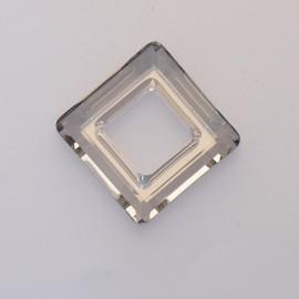 pendentif Swarovski carré 2cm gris fumé