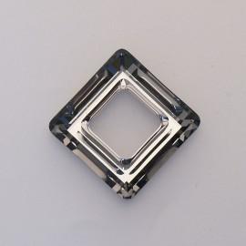 pendentif Swaro carré 2cm gris fumé