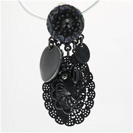 Boucles d'oreilles Clairébelle clips noir estampe pierres noires