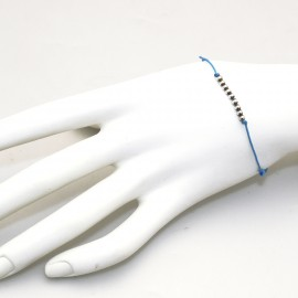 Bracelet Enomis cordon bleu perles argent 925