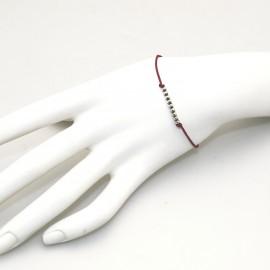 Bracelet Enomis cordon rouge carmin perles argent 925