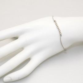 Bracelet Enomis cordon beige perles argent 925
