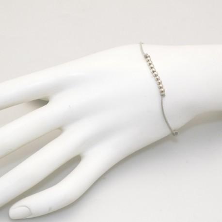 Bracelet fantaisie Enomis lien beige argent 925/1000