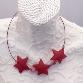 Collier fantaisie 3 étoiles fushia