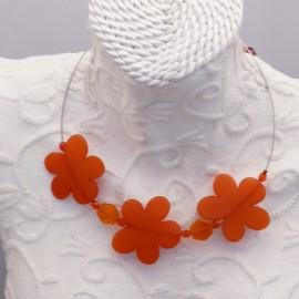 Collier fantaisie 3 fleurs orange