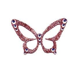 Bijou de peau autocollant Swarovski strass et tatoo papillon rose corail