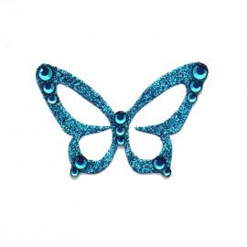 Bijou de peau autocollant Swarovski strass et tatoo papillon bleu