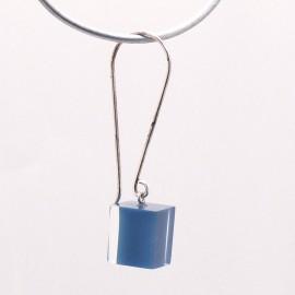 Boucles d'oreilles percées cube bleu créateur Zsiska