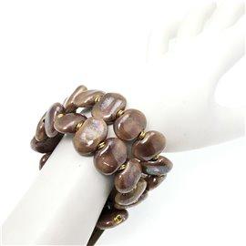 Bracelet fantaisie Kazuri céramique sable irisé