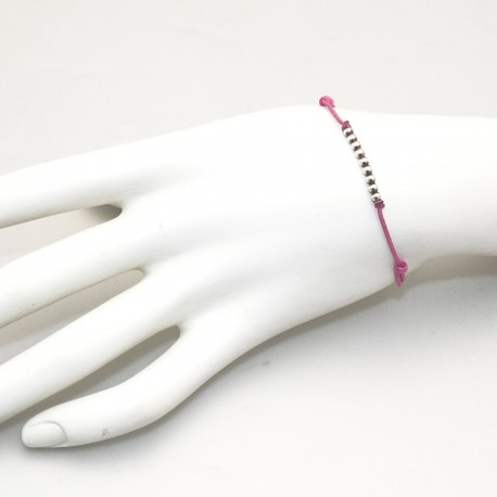 Bracelet Enomis cordon rose perles argent 925