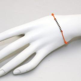 Bracelet Enomis cordon orange perles argent 925