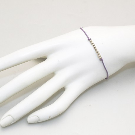 Bracelet Enomis cordon parme perles argent 925