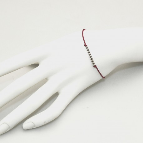 Bracelet fantaisie cordon marron perles argent 925