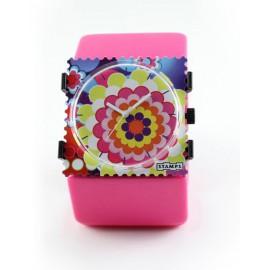 Montre Stamps bracelet de montre rose élastique belta