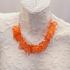 Ras de cou voile orange vif sur cable