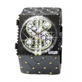 Bracelet élastique de montre Stamps belta noir et or