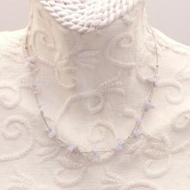 Ras de cou fantaisie blanc en pierre