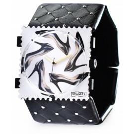 Bracelet élastique de montre Stamps noir et argent
