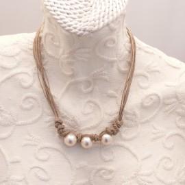 Collier fantaisie perles et corde