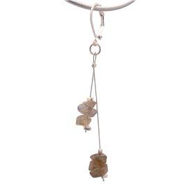 Boucles d'oreilles fantaisie marron cable oreilles percées