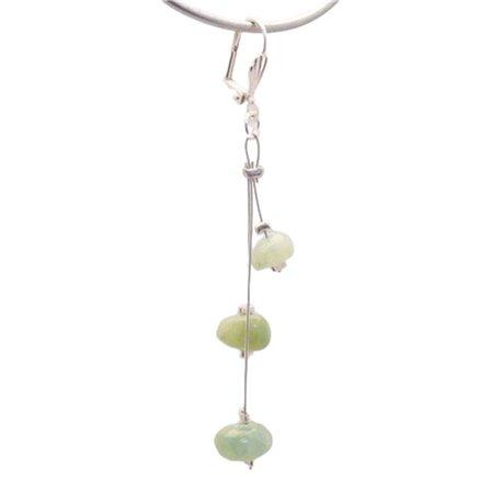 Boucles d'oreilles fantaisie vert cable oreilles percées