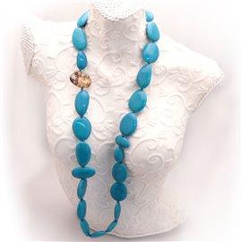 Sautoir Sobral en résine bleu turquoise