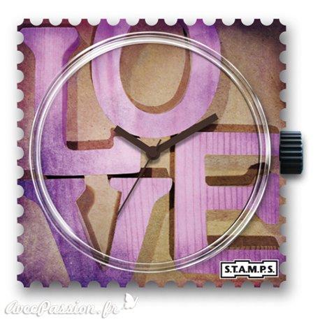 Montre Stamps cadran de montre pink love