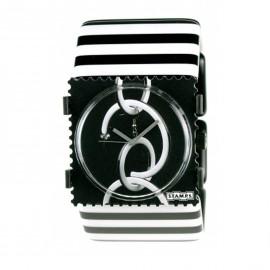 Bracelet élastique de montre Stamps belta traits noir blanc
