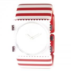 Bracelet élastique de montre Stamps traits rouge blanc