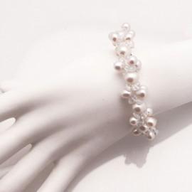 Bracelet fantaisie perles couleur ivoire s Bo'Galé mariage