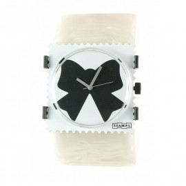 Bracelet élastique de montre Stamps blanc transparent nacre