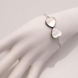 Bracelet fantaisie gris coeur et chaine