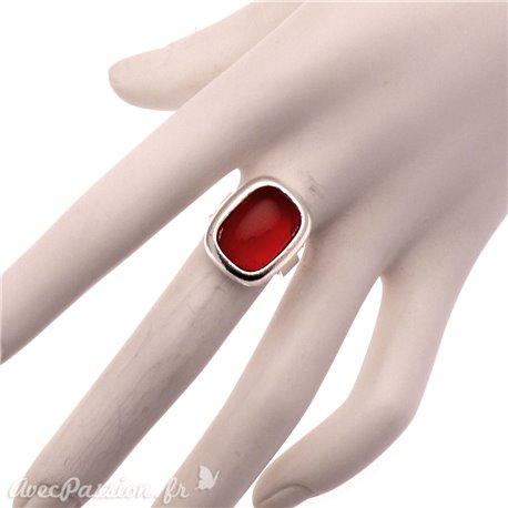 Bague Ubu rouge rubis et métal argenté réglable